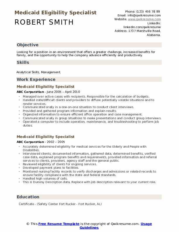 Medicaid Eligibility Specialist Resume example