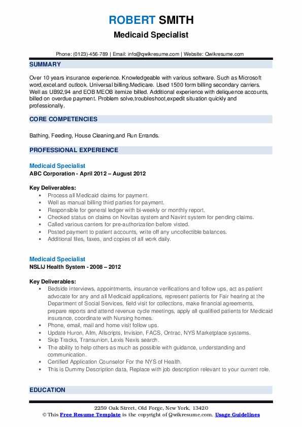 Medicaid Specialist Resume example