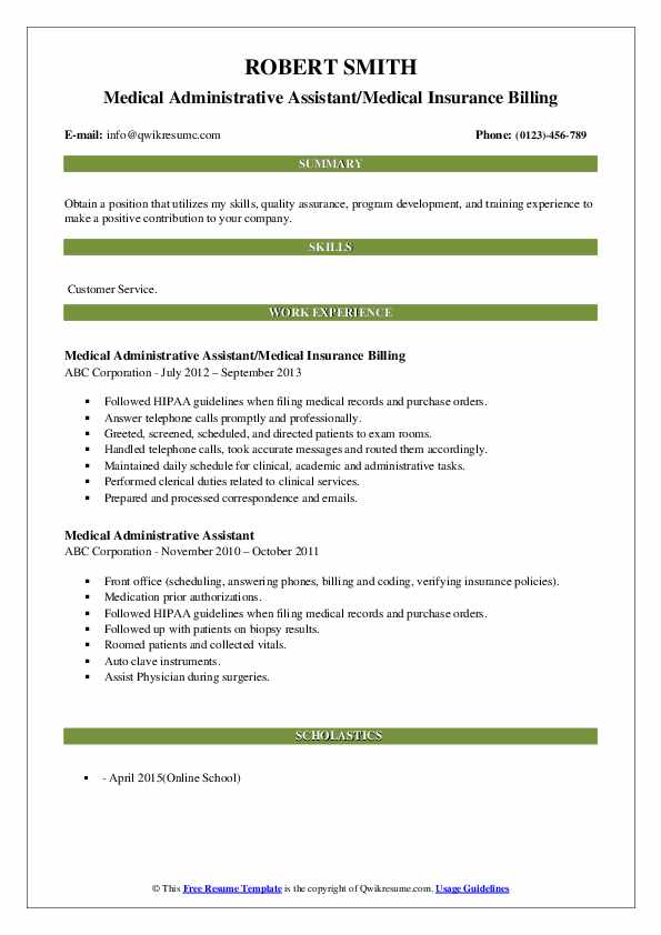 Medical Administrative Assistant/Medical Insurance Billing Resume Template