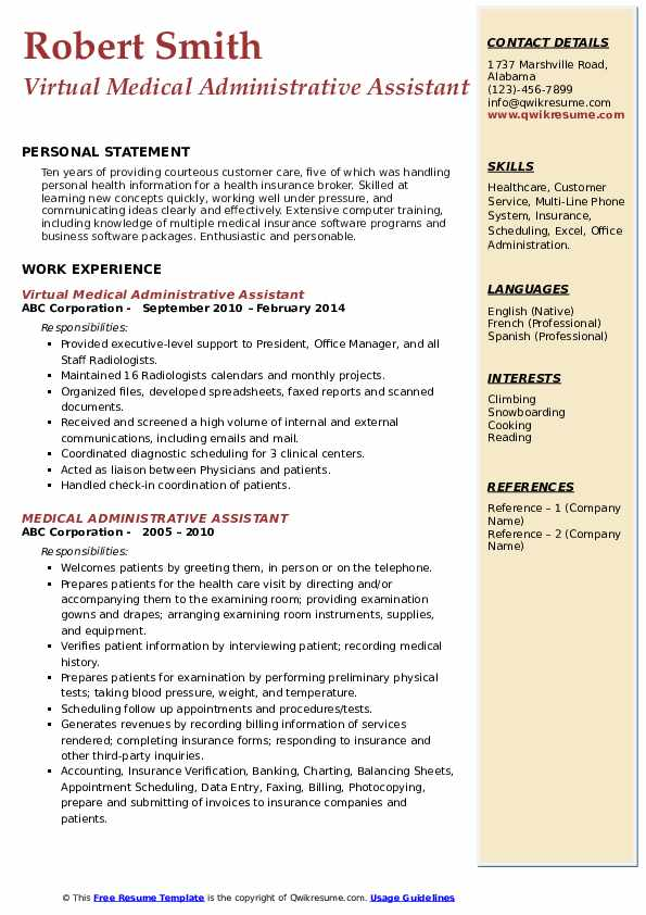 Virtual Medical Administrative Assistant Resume Sample