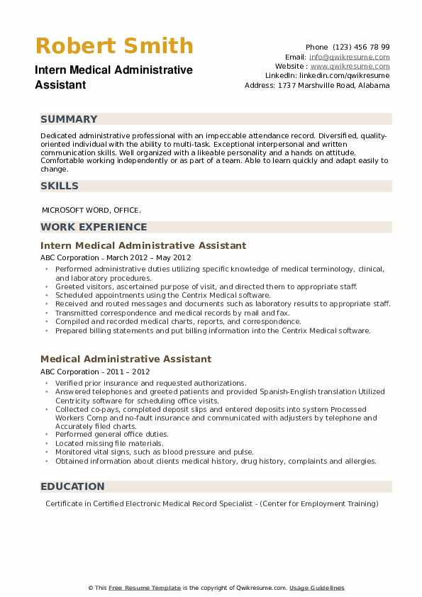 Intern Medical Administrative Assistant Resume Example
