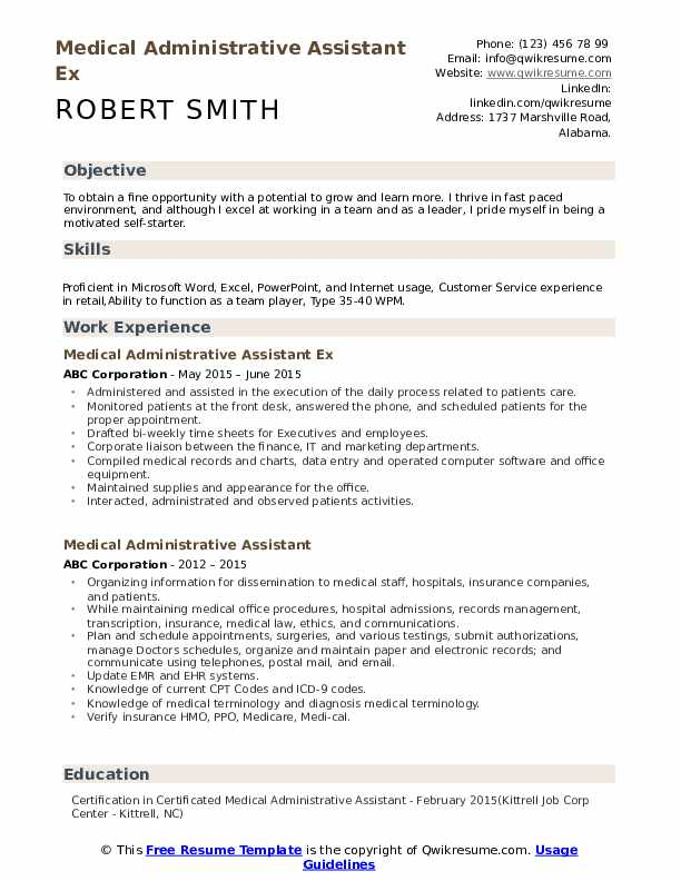 Medical Administrative Assistant Ex Resume Template