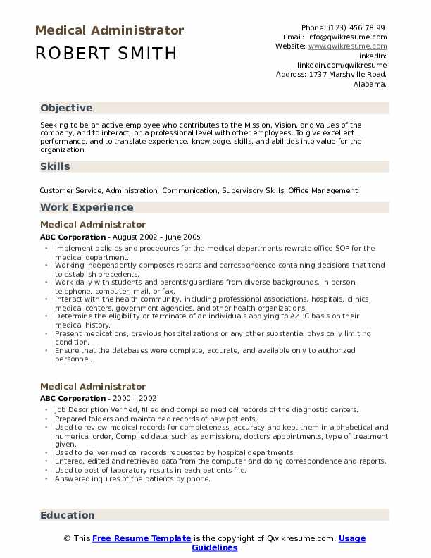 Medical Administrator Resume Format
