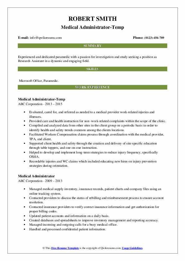 Medical Administrator-Temp Resume Template