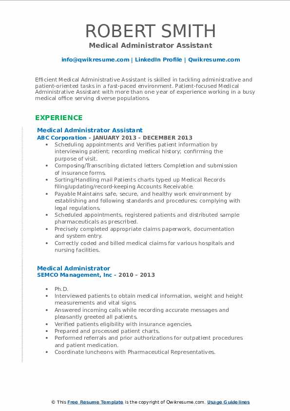 Medical Administrator Assistant Resume Example