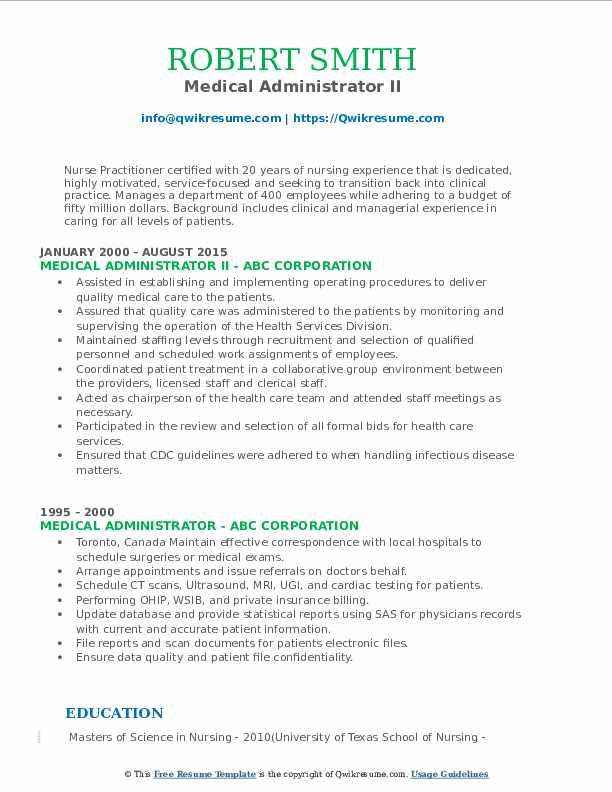 Medical Administrator II Resume Sample