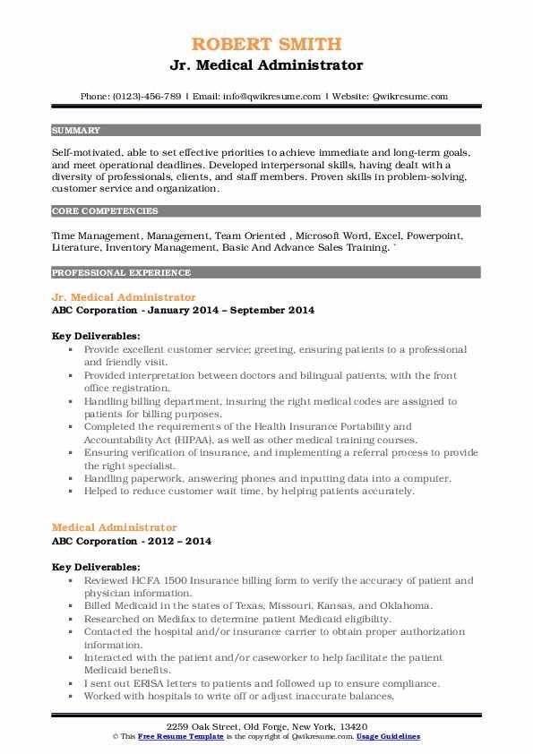 Jr. Medical Administrator Resume Model