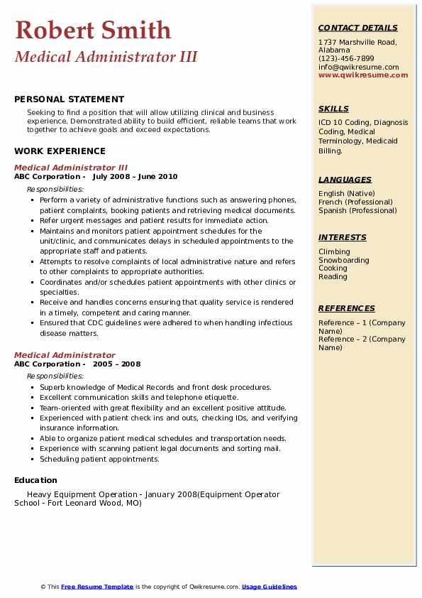 Medical Administrator III Resume Example