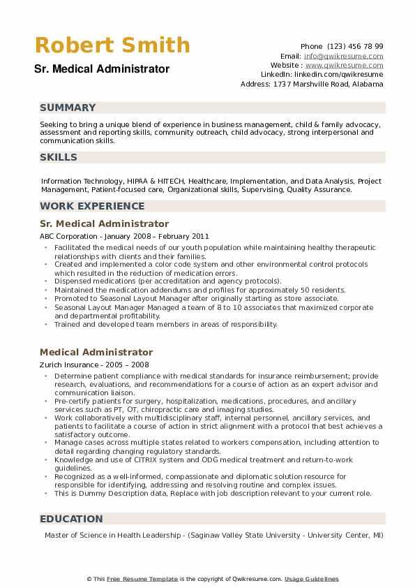Sr. Medical Administrator Resume Format