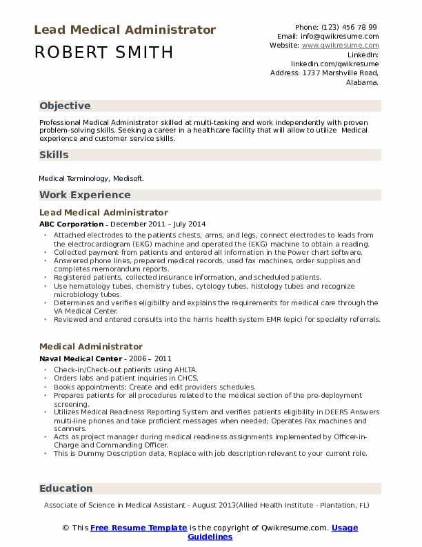 Lead Medical Administrator Resume Model