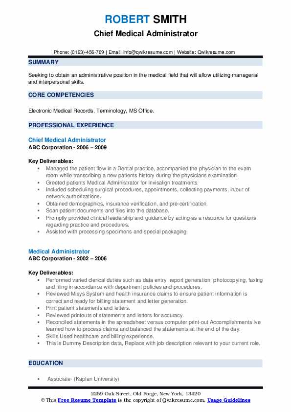 Chief Medical Administrator Resume Model