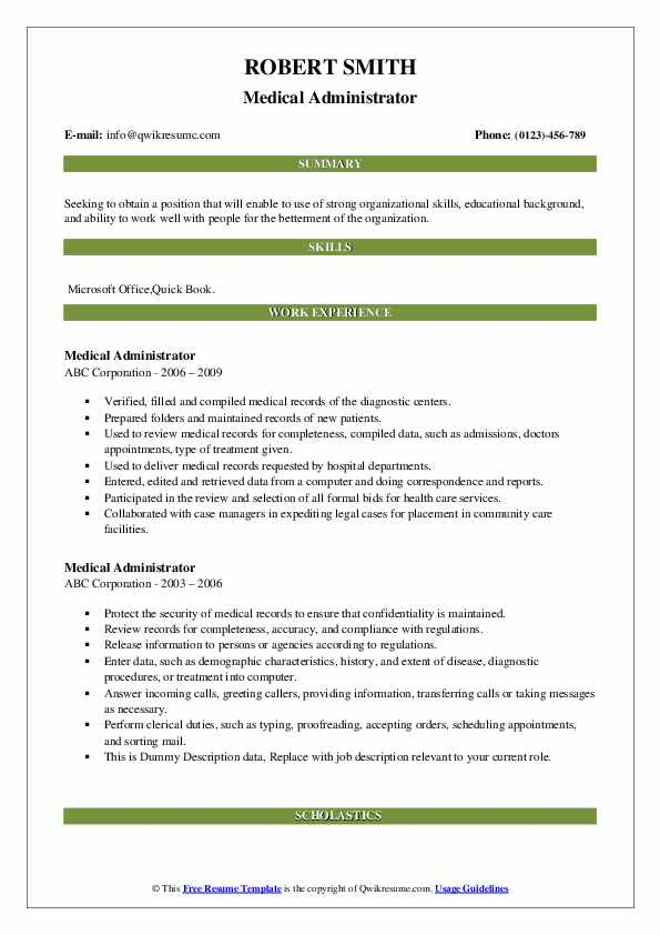 Medical Administrator Resume example