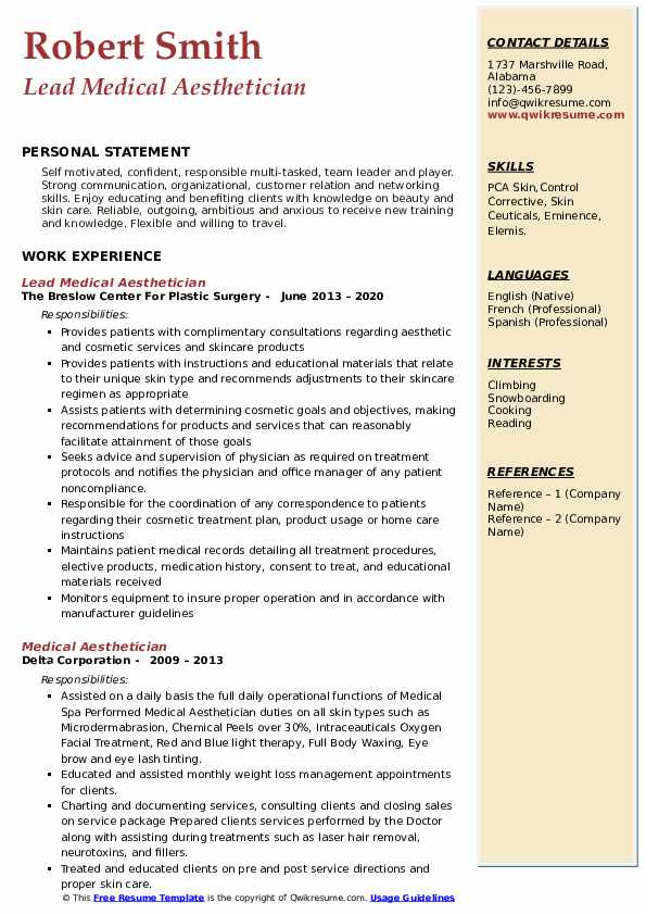 medical aesthetician resume samples