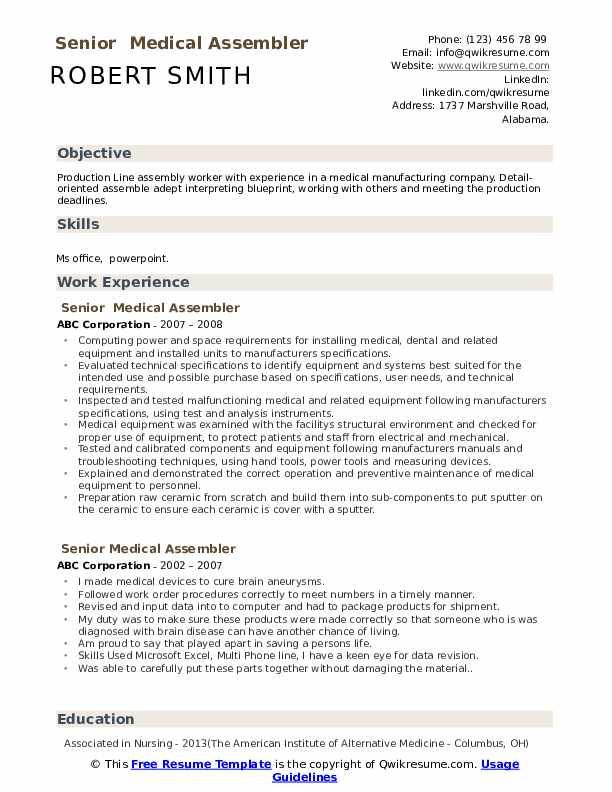 Senior  Medical Assembler Resume Sample