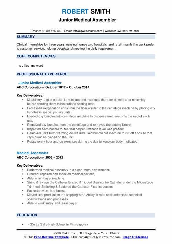 Junior Medical Assembler Resume Model