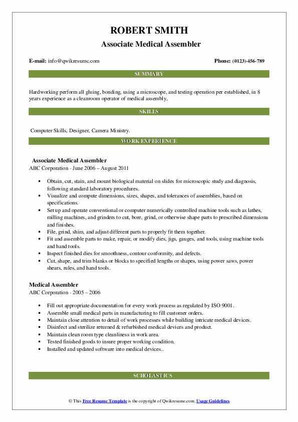Associate Medical Assembler Resume Format