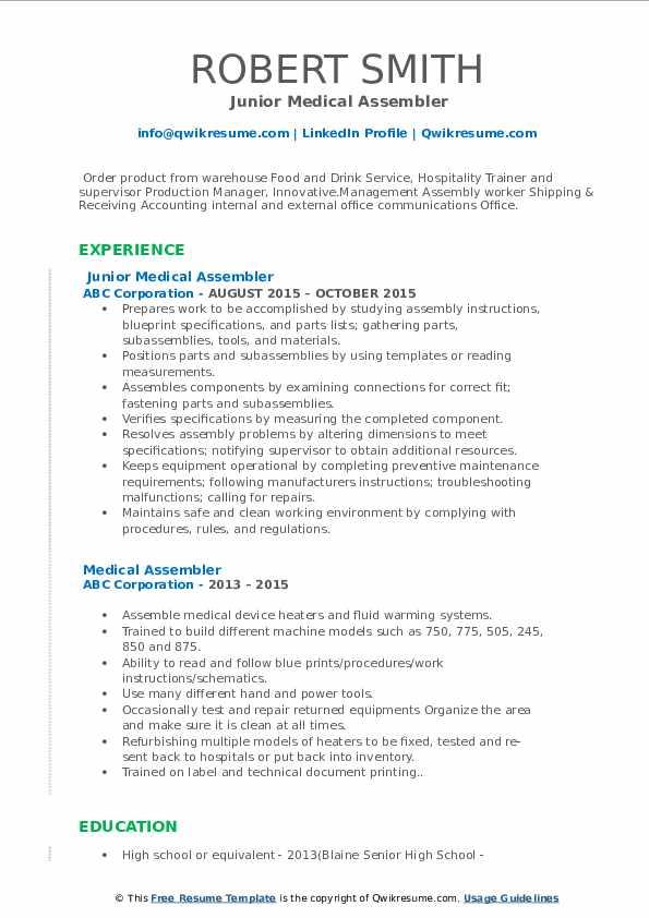 Junior Medical Assembler Resume Template