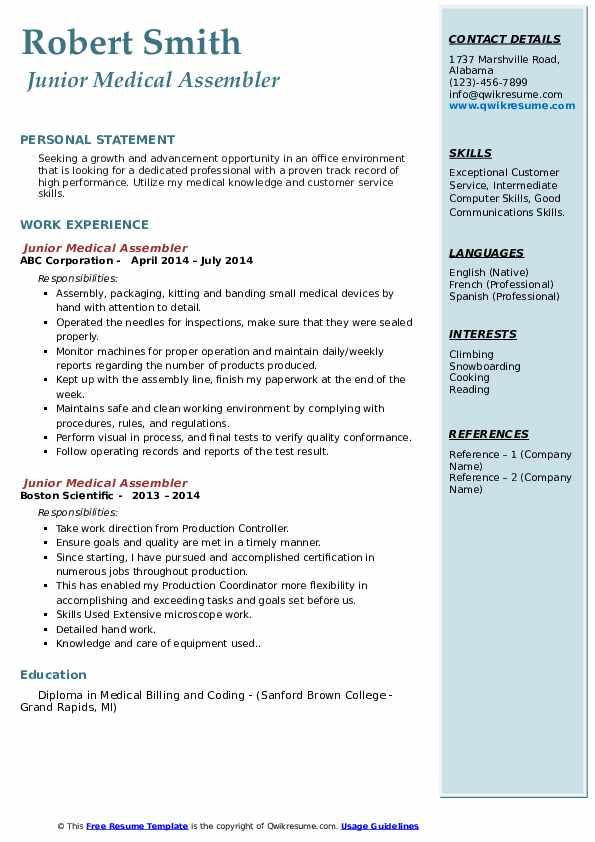 medical assembler resume samples