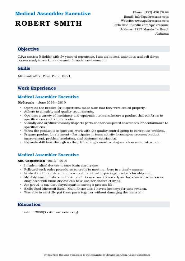 Medical Assembler Executive Resume Template