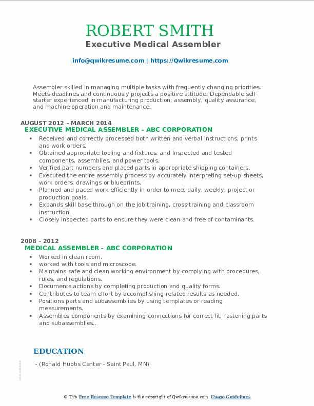 Executive Medical Assembler Resume Sample