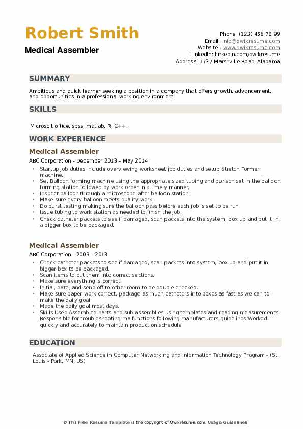 Medical Assembler Resume Model