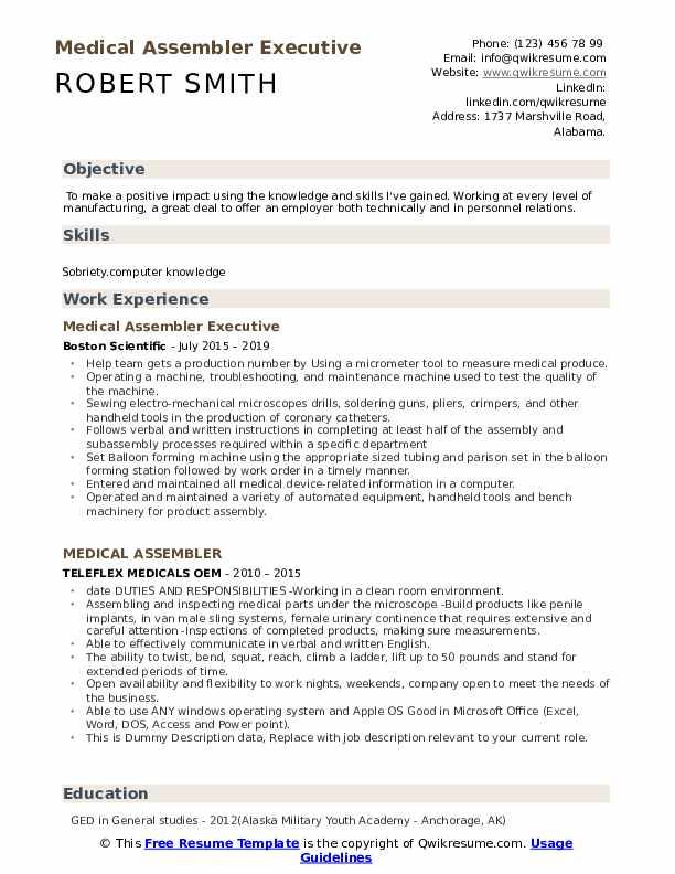 Medical Assembler Executive  Resume Example