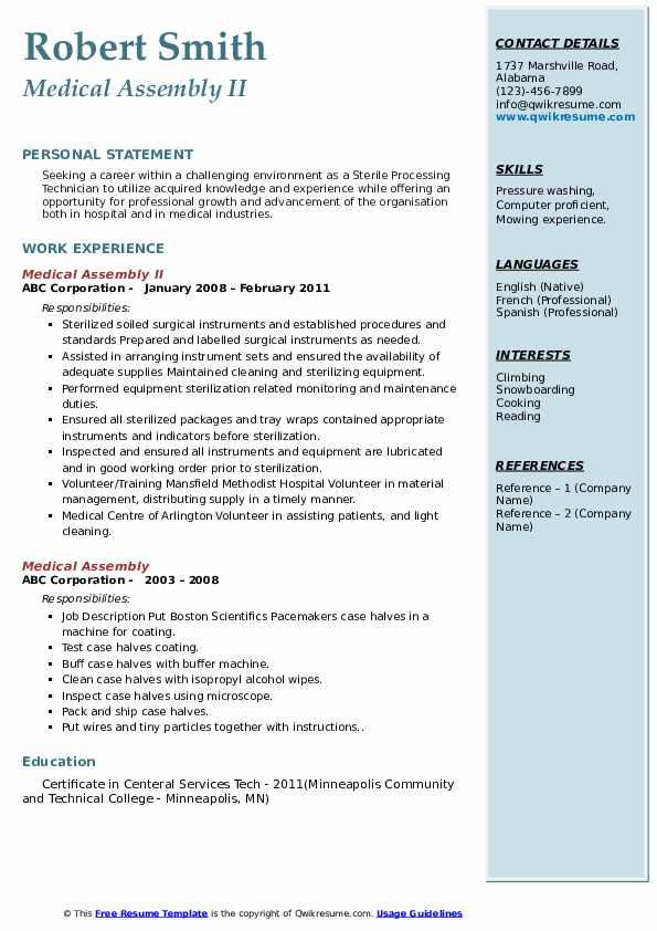 medical assembly resume samples