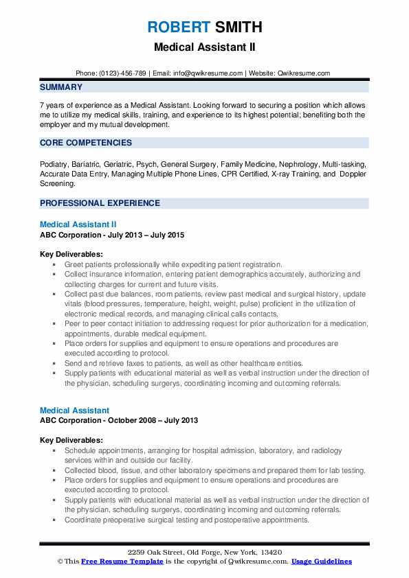Medical Assistant II Resume Model