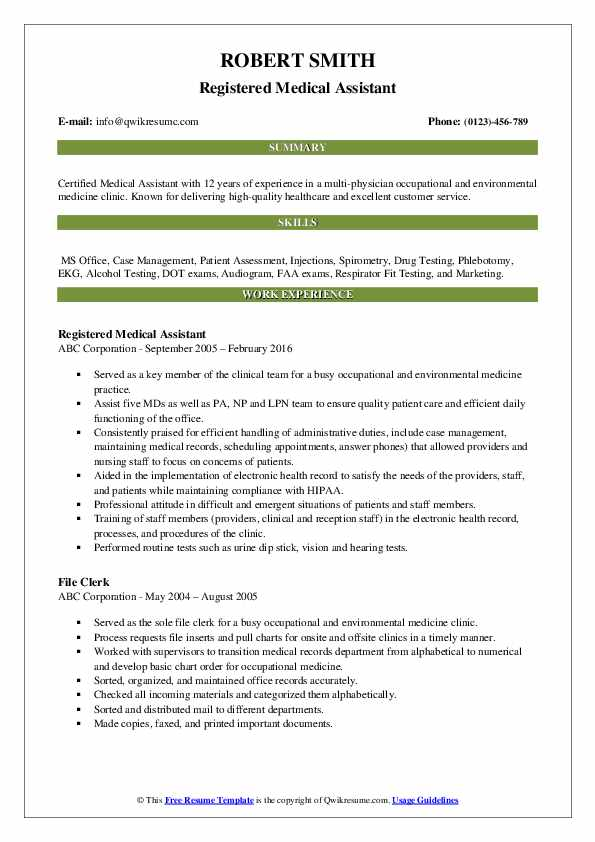 Registered Medical Assistant Resume Example