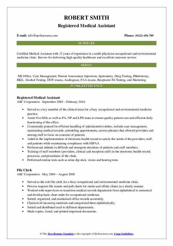 Registered Medical Assistant Resume Sample