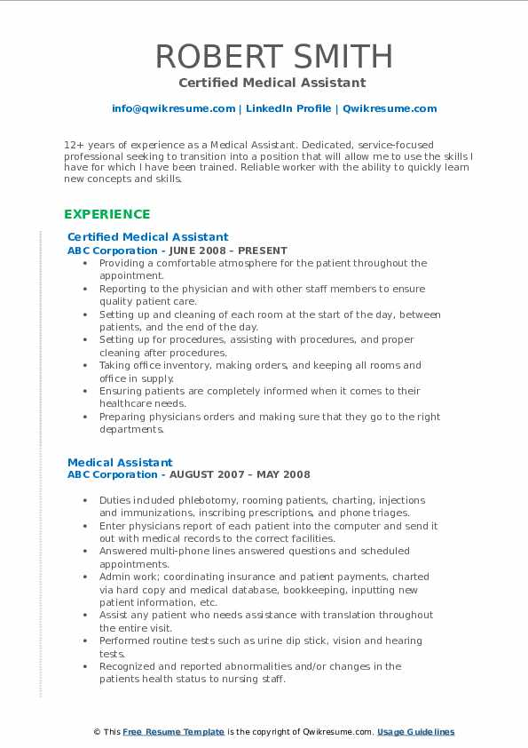 Medical Assistant Resume Samples Qwikresume