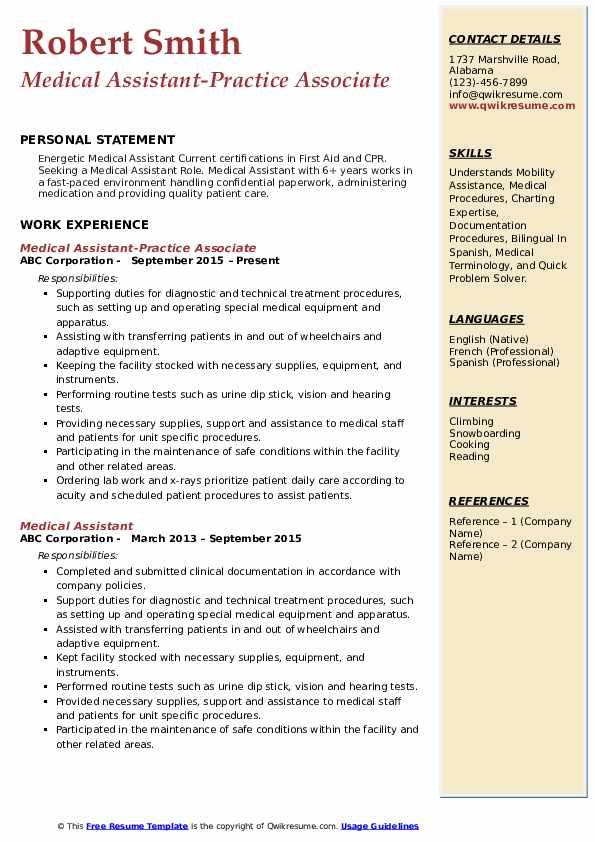 Medical Assistant-Practice Associate Resume Template