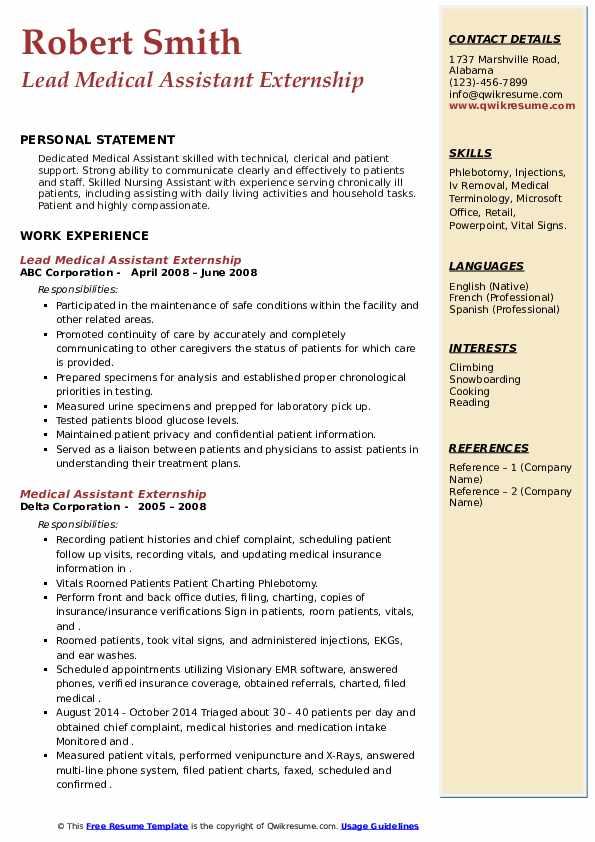 medical assistant externship resume samples  qwikresume