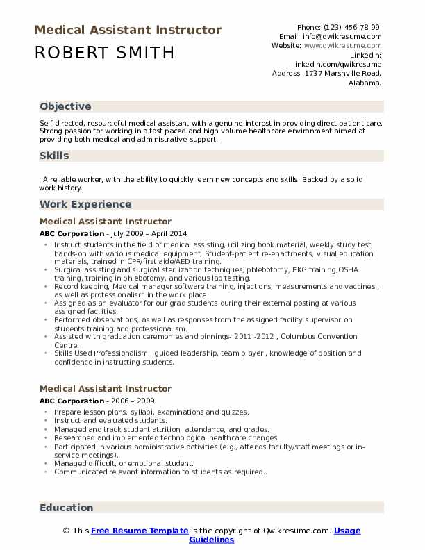 Medical Assistant Instructor Resume Format
