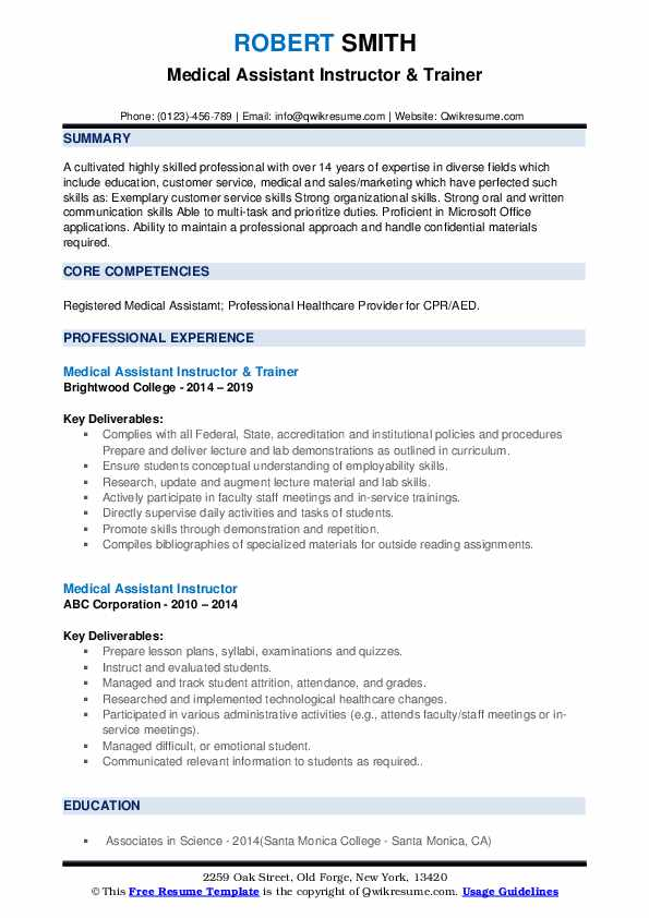 Medical Assistant Instructor & Trainer Resume Model