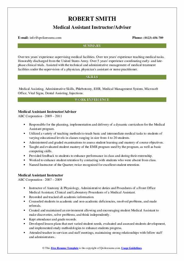 Medical Assistant Instructor/Adviser Resume Template
