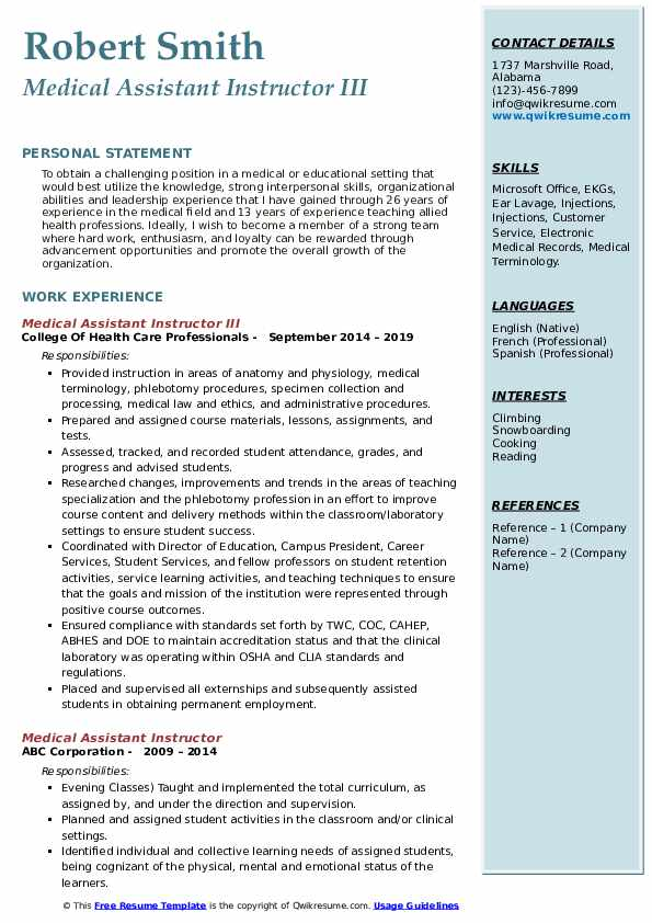 Medical Assistant Instructor III Resume Sample