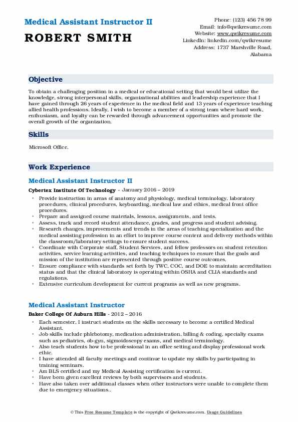 medical assistant instructor resume samples