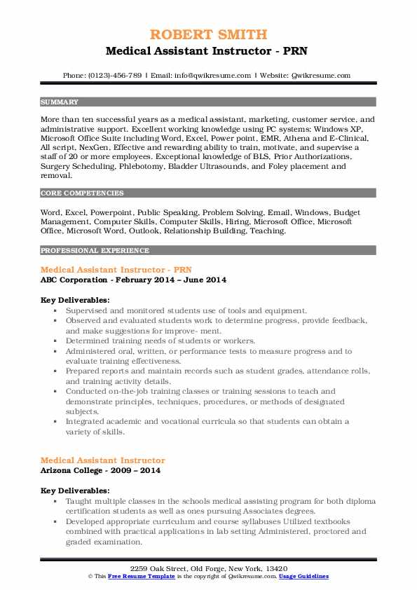Medical Assistant Instructor - PRN  Resume Sample