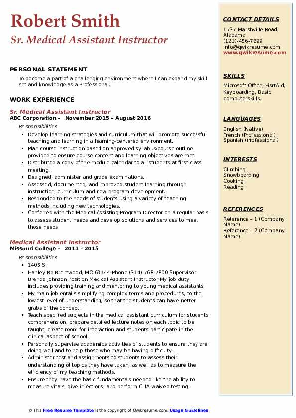 Sr. Medical Assistant Instructor Resume Model