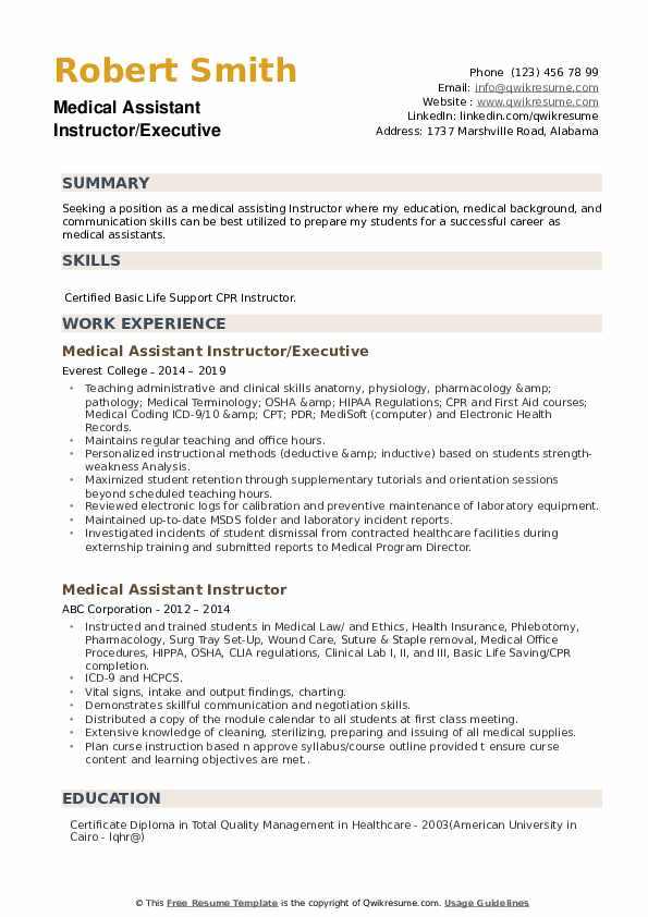 Medical Assistant Instructor/Executive Resume Model