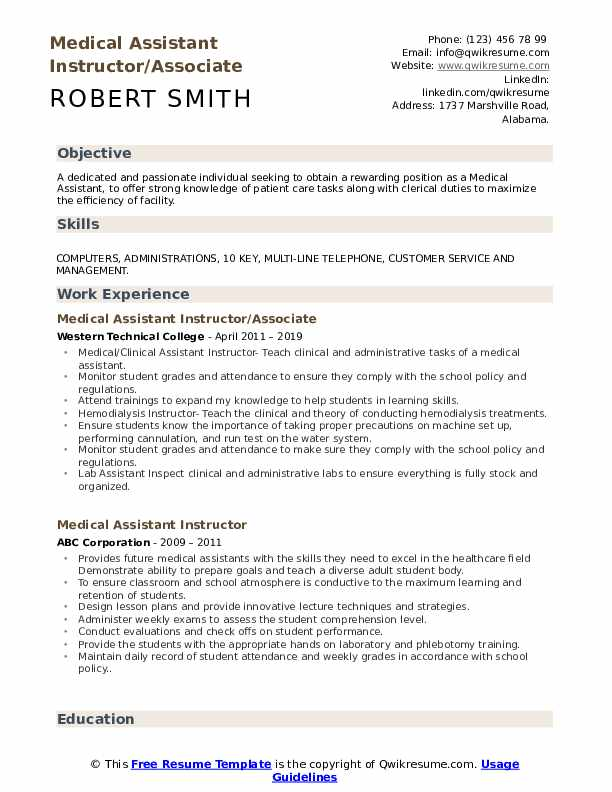 Medical Assistant Instructor/Associate Resume Format