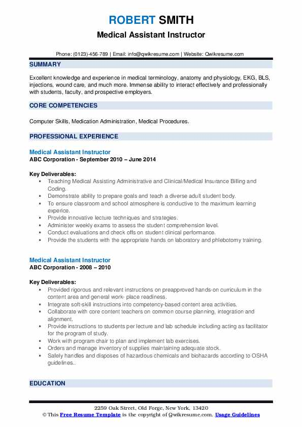 Medical Assistant Instructor Resume Samples Qwikresume