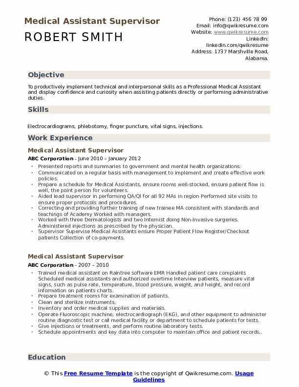 Medical Assistant Supervisor Resume Sample