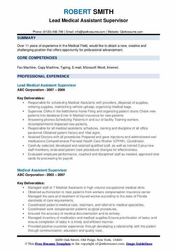 Lead Medical Assistant Supervisor Resume Format