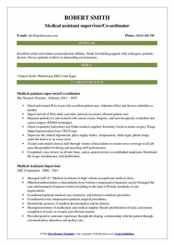 medical assistant supervisor resume samples