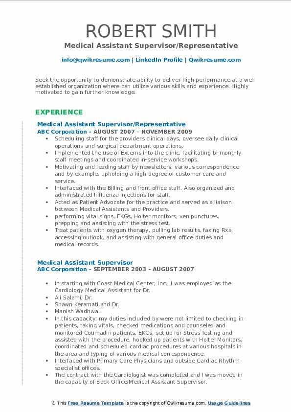 Medical Assistant Supervisor/Representative Resume Model