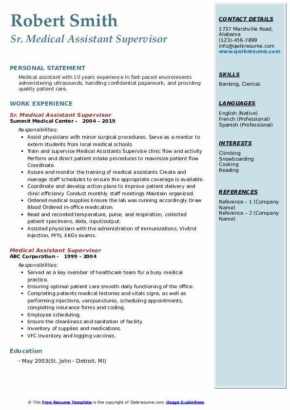 Sr. Medical Assistant Supervisor Resume Sample