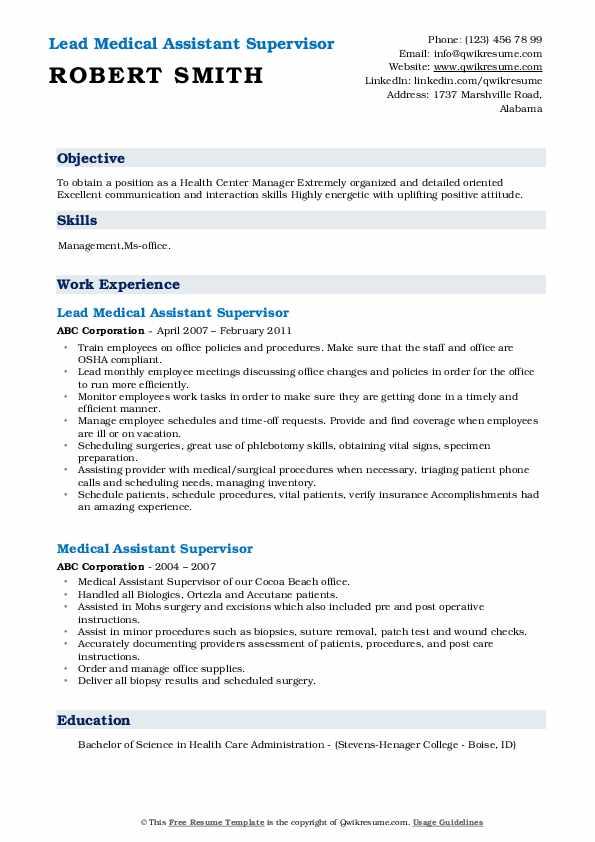 Lead Medical Assistant Supervisor Resume Sample