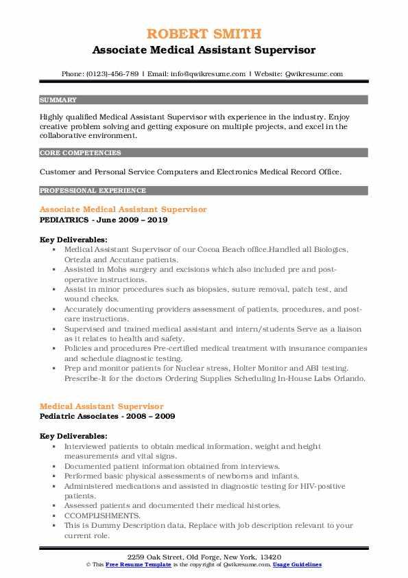 Associate Medical Assistant Supervisor Resume Format